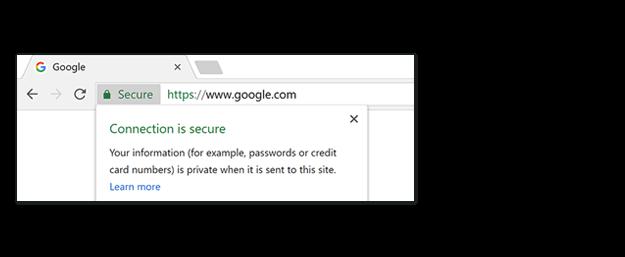 Пометка Secure в адресной строке Google Chrome